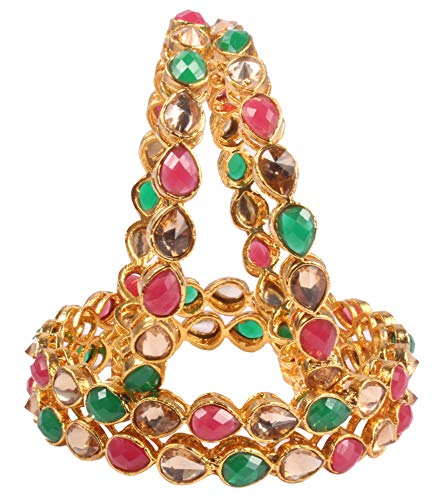 Shiv_Collection Ethnic Traditional Gold Plated Fashion Multi Color Polki Indian Bangle Bracelet Partywear Jewelry (2.4)