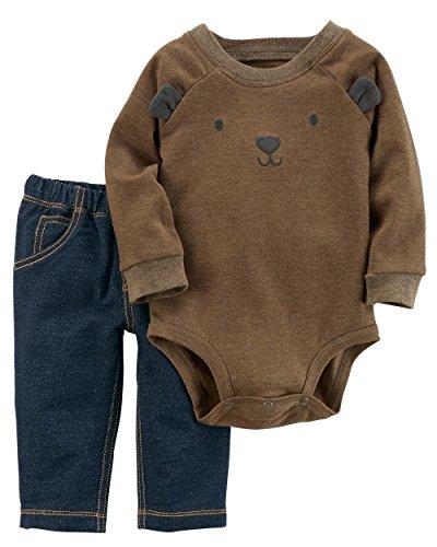 Carter's Baby Boys' 2 Piece Bear face Bodysuit And Pants Set 18 Months
