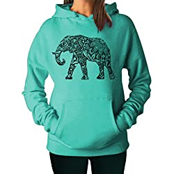 YM Wear Women's Casual Graphic Elephant Hoodie