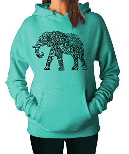 YM Wear Women's Casual Fashion Graphic Elephant Black Hoodie Hooded Sweater Large Light Green