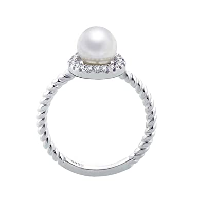 Chnli Women Beautiful Sterling Silver Pearl Zircon Ring Charm Jewelry  (Adjustable Ring)  Amazon.co.uk  Clothing 6c02a21c5e