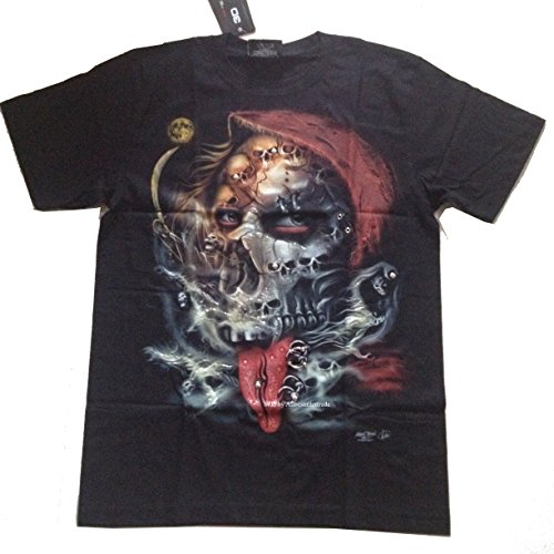 Men T-Shirt, Glow in the dark, Double sided.Black,Punk Rock 08 (large)