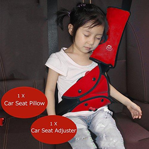 Iokone Red Seatbelt Pillow Seat Belt Adjuster for Kids Safety Covers Seatbelt Adjuster Child Seat Belt Adjuster Car Safety Seatbelt Pillow for Kids
