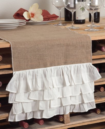 Fennco Styles Capucine Ruffled Natural Burlap Table Runner, White and Natural, 2 Sizes (16