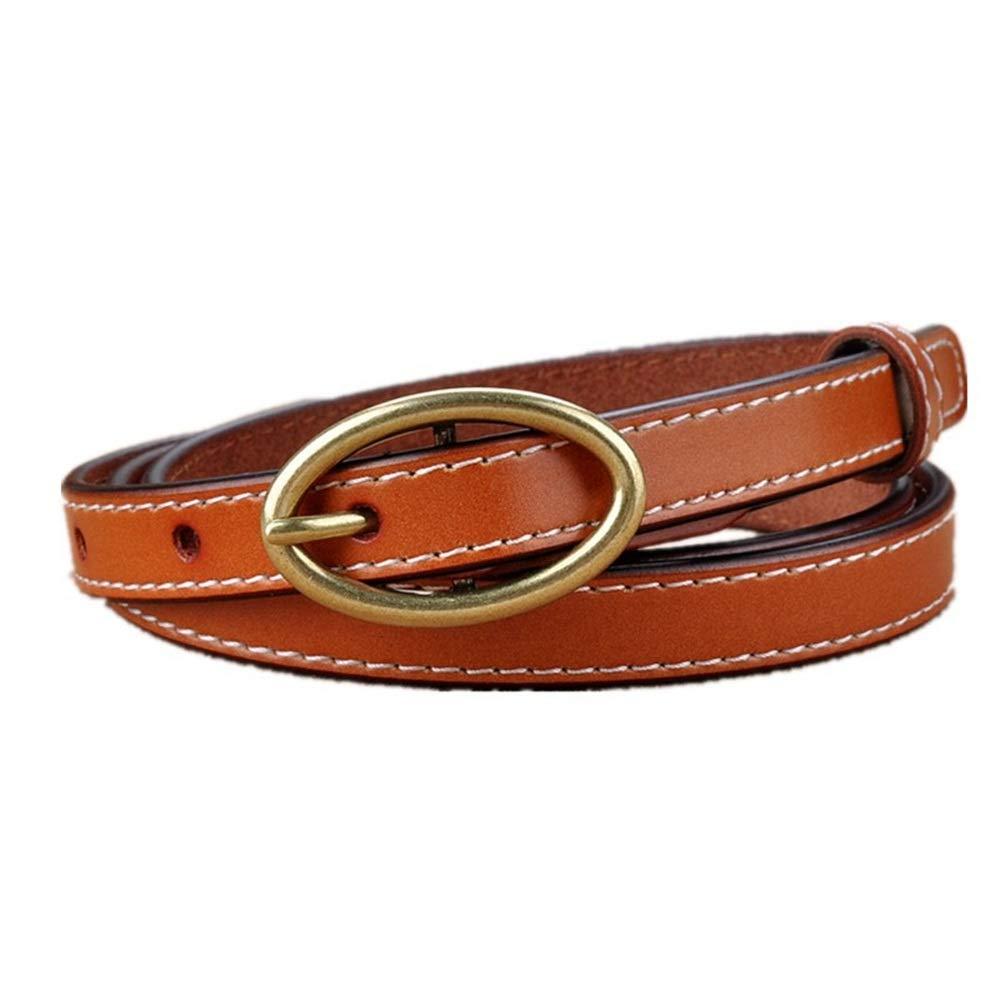 Melodycp Elegante Cinturón Reversible de Cuero para Mujer Accesorios de Vestir de cinturón de Cuero con Hebilla de Bronce Oval Vintage para Mujer Elegante (Color : Marrón)
