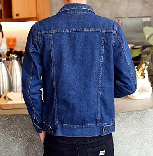 Denim RkBaoye Jacket Buttoned Front Men Blue Pocket Down Turn Collar Outwear Dark nqHqawB0A