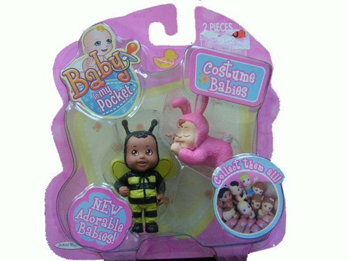 [Baby in My Pocket ~ Bumble Bee & Pink Bunny Costume Babies] (Pretty In Pink Costumes)