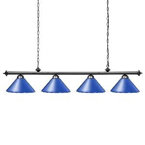 Wellmet Island Lighting, 4 Light Pool Table Light for Game Room 8ft/9ft/10ft/11ft Tables,Kitchen Light with 4 Matte Shade for Men's Cave, Kitchen, Dinning Room, Bar