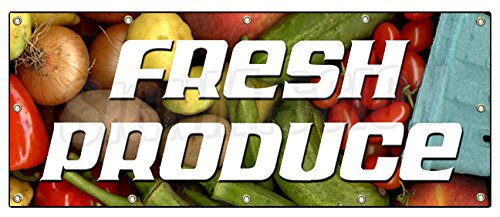 "UPC 670541437155, 48""x120"" FRESH PRODUCE BANNER SIGN stand farmers market signs fruit vegetables"
