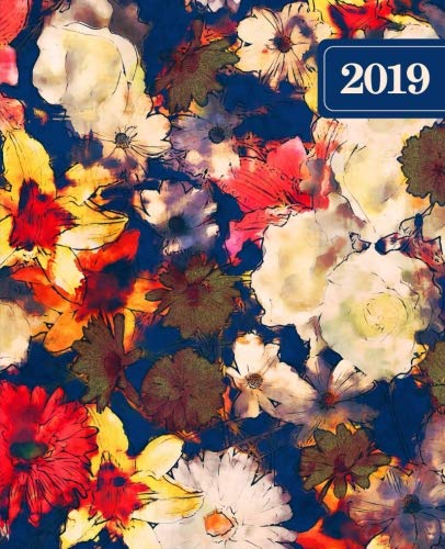 """2019 Weekly & Monthly Planner: Portable Format 7.5""""x9.25"""" (19x23cm) Weekly & Monthly Planner: 12 Months: Abstract Modern Florals in Red White & Blue 4695"""