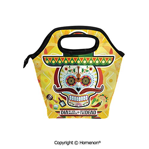 Insulated Neoprene Soft Lunch Bag Tote Handbag lunchbox,3d prited with Mexican Sugar Skull with Tacos and Chili Pepper November 2nd Colorful Art,For School work Office Kids Lunch Box & Food Container