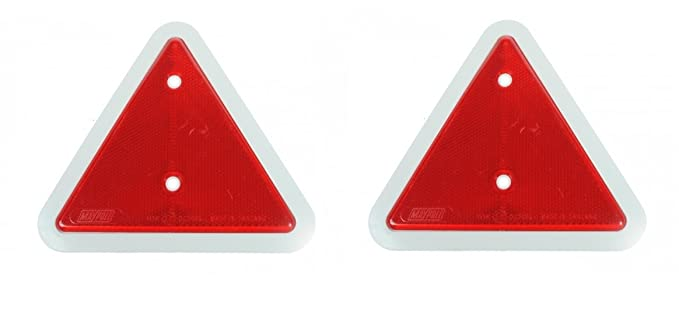 leisure MART A pair of trailer caravan triangle red reflectors with white surround LMX1661