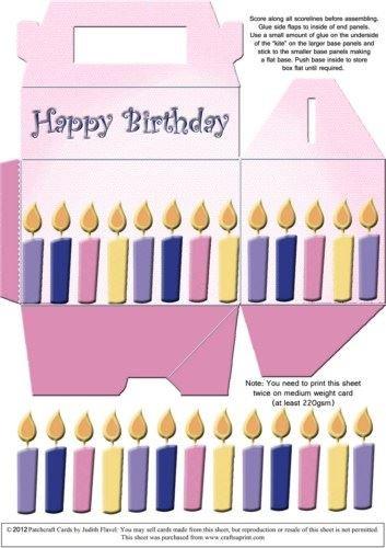 gable-top caja - Velas de cumpleaños rosa por Judith Flavel ...