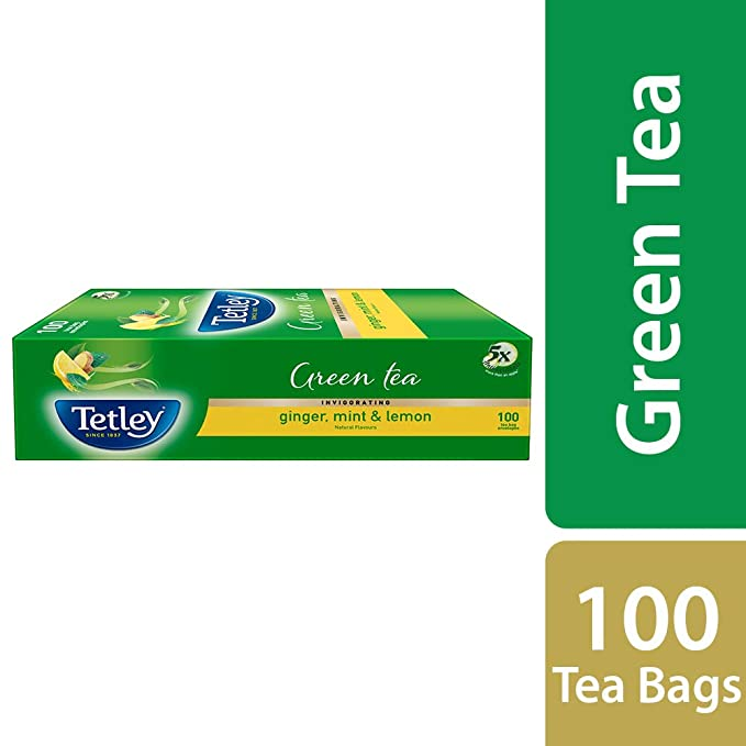 7c2fe329a90 Tetley Green Tea, Ginger, Mint and Lemon, 100 Tea Bags: Amazon.in: Grocery  & Gourmet Foods