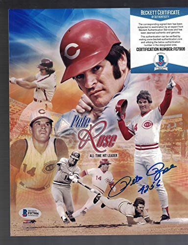 Autographed 8x10 Photo Rose Pete - Pete Rose Cincinnati Reds Autographed Signed 8 X 10 Photo Beckett Certified