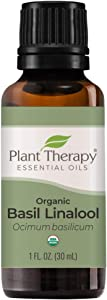 Plant Therapy USDA Certified Organic Basil Linalool Essential Oil 30 mL (1 oz) 100% Pure, Undiluted, Therapeutic Grade