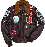 Top Gun G1 Bomber Tom Cruise Pete Maverick Cowhide Leather Jacket (M) Brown