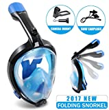 Full Face Snorkel Mask Easy Breathing 180°Panoramic View Diving Mask Anti Fog Camera Mount Anti Leak Snorkeling Underwater for Adult & Youth (Black, Large)