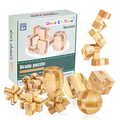 (Wooden Puzzles Brain Teaser Burr Puzzles for Adults Kids - IQ Challenge Toy Mind Game Gift Set Interlocking Cube)