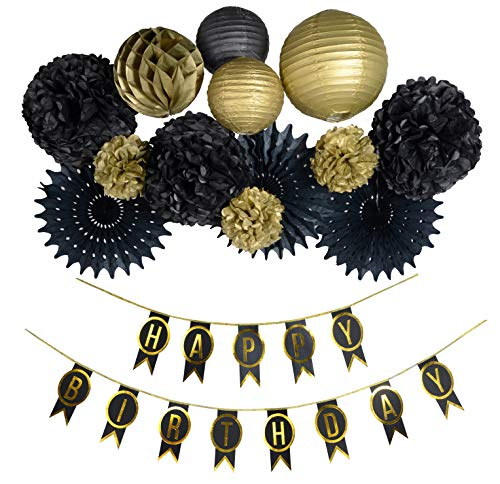 PAPER JAZZ Black Gold Birthday Party Decoration kit with Banner Pinwheel Fan Lantern for 30th 40th 50th 60th 70th 80th 90th 100th Birthday -