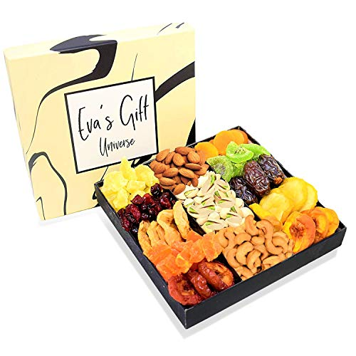 Holiday Nut & Dried Fruit Gift Basket, Healthy Snacks Box Gourmet Christmas Food Gifts Tray, Prime Delivery Mothers Fathers Valentines Easter Day, Men/Women, Mom, Dad Corporate Baskets for Birthday
