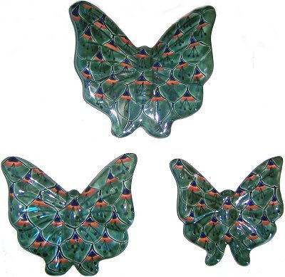 (Fine Crafts Imports Green Peacock Talavera Ceramic Butterfly Set (3))