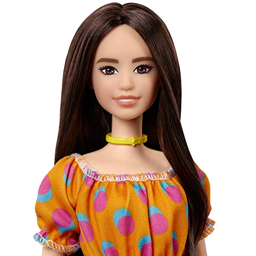 Barbie Fashionistas Doll #160 with Brunette Hair Polka Dot Off-The-Shoulder Dress, Toy for Kids 3 to 8 Years Old