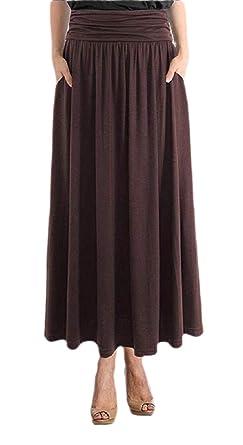 ShuangRun Falda Lisa de Cintura Alta para Mujer, Falda Plisada con ...