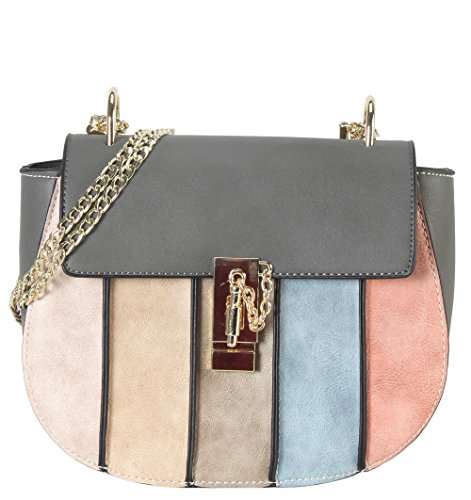 PS Stripes Grey Crossbody Diophy 3816 Vertical Fashion Bag R0xTXx