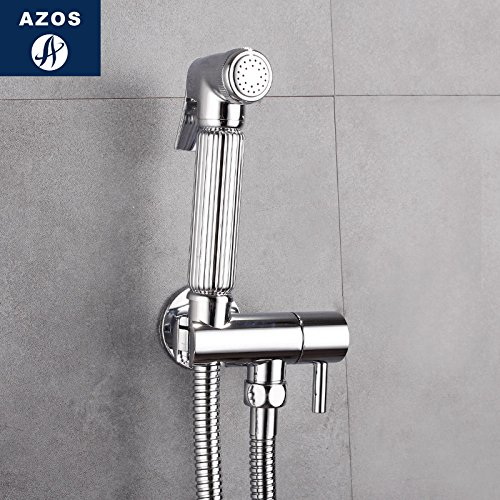 Azos Bidet Faucet Pressurized Sprinkler Head Brass Chrome Cold Water Single Function Laundry Pool Pet Bath Toilet Round PJPQ001D by AZOS