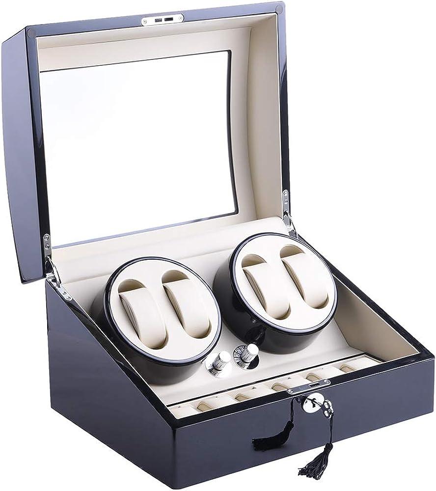 xtelary funda de piel automático rotación 4 + 6 relojes, caja de almacenamiento caso pantalla: Amazon.es: Relojes