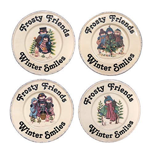 Hearth & Home Traditions 1 B07CC49P7P Frosty the Snowman Plates Winter Ceramic Dessert Snack Salad Set of 4 1 White (Home & Hearth Evergreen)