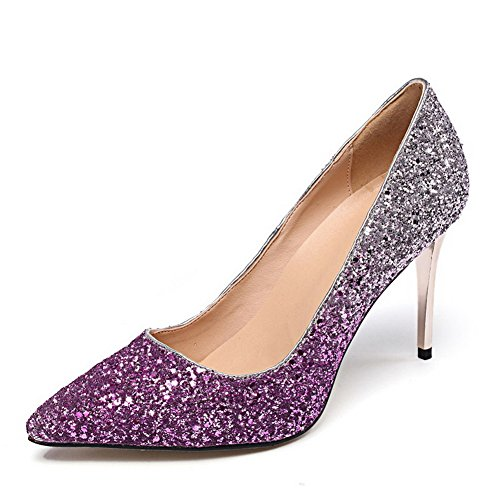 Closed Spikes Pumps Pointed Solid Pull WeiPoot Women's Pink Shoes Toe Sequins On Stilettos AIwxX0v