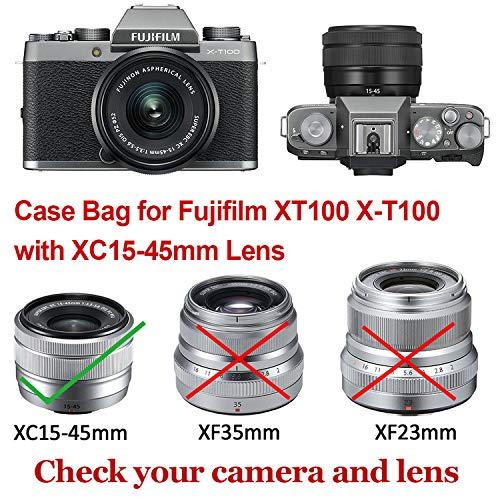 XC15-45 mm Lens XJMD-XT100-10G11 First2savvv Marron Oscuro Funda C/ámara Cuero de la PU c/ámara Digital Bolsa Caso Cubierta con Correa para Fuji Fujifilm X-T100 XT100 with