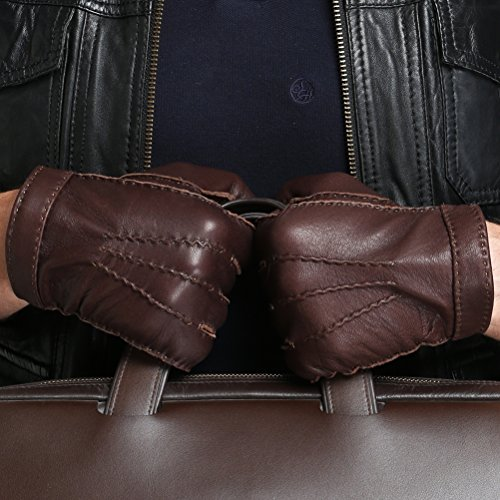CHULRITA Mens Deerskin Leather Drivers Gloves with Wool Lining, Brown, Large by CHULRITA (Image #1)