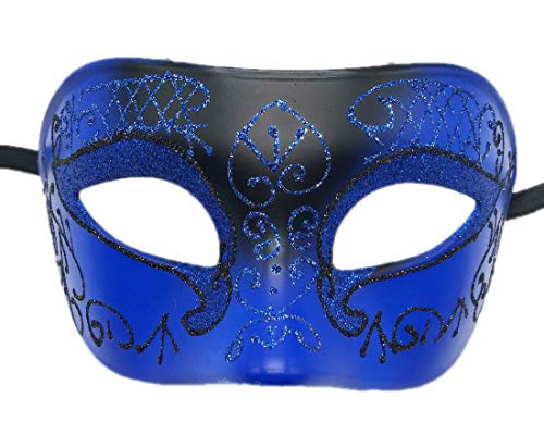 Coolwife Mens Masquerade Mask Venetian Halloween Costume Mardi Gras Party Mask (A Blue-Black) ()