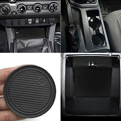 (Auovo Non-SlipAnti-dustInteriorCustomFitCup DoorCenterConsoleLinerAccessoriesfor2016-2019ToyotaTacomaDouble Cab 3RDGEN (Black, Manual Transmission-with QI Charger Pads))