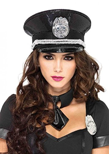 Sequin Police Hat (Adult size Sequin Black Cop Hat - Police Officer Costume Accessory)