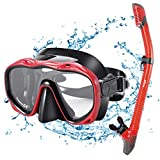 KUYOU Snorkel Set Adults,Dry Snorkeling Set Men Women Anti-Fog Snorkel Mask Impact Resistant Panoramic Tempered Glass Easy Breathing and Professional Snorkeling Gear for Youth Adults (Red)