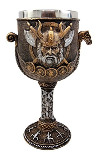 Atlantic Collectibles Norse Mythology Viking Odin Warlord Dragon Longship 8oz Resin Wine Goblet Chalice With Stainless Steel Liner