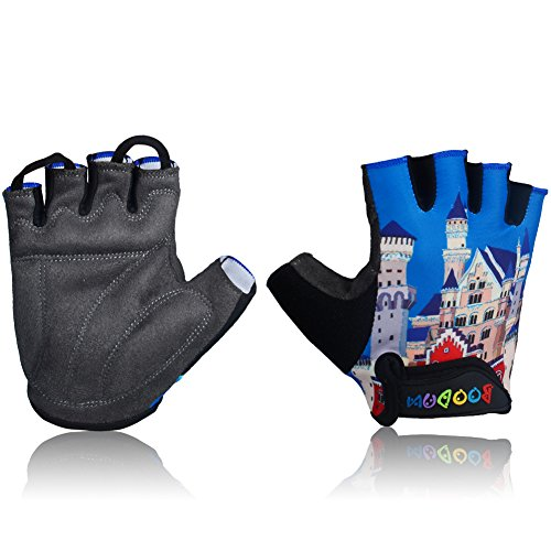 MIFULGOO Kids Padded Cycling Gloves Children Half Finger Bicycle Gloves for 3-8 Years Old Boys Girls for Balance Bike Roller Skate Scooter Inline Skating Skateboard