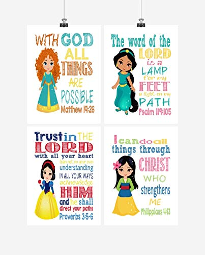 (Princess Inspirational Nursery Decor Set of 4 Prints - Snow White, Merida, Jasmine and Mulan)
