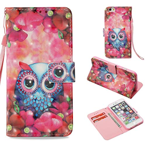 iPhone 6S Plus Case,Pu Leather 3D Printing Pattern Kickstand Wallet Case with Inner Rubber Bumper Full Cover Protection with Credit Card Holder Birthday Xmas Gift for Apple iPhone 6S Plus -Bling Owl ()
