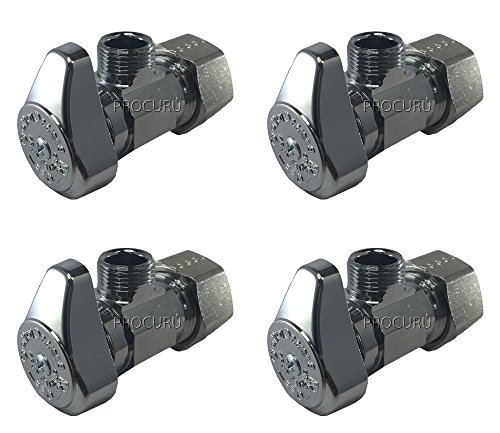 ((4-Pack) BrassCraft G2CR19L1X 1/2-in Nominal Comp x 3/8-in OD Outlet Chrome Plated Brass 1/4-Turn Angle Stop Valve Less Outlet Sleeve/Nut (4-Pack))