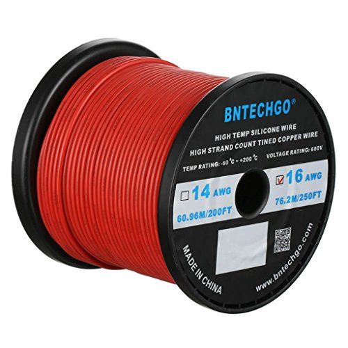BNTECHGO 16 Gauge Silicone wire spool 250 ft Red Flexible 16 AWG Stranded Tinned Copper Wire