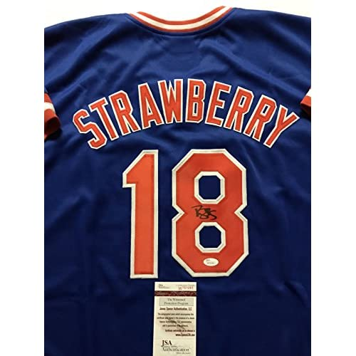 fcb2355b7 Autographed Signed Darryl Strawberry New York Mets Blue Baseball Jersey JSA  COA hot sale
