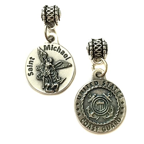 Saint Michael Archangel United States Coast Guard Protect Military Protection Medal Pendant Charm Silver Tone Made in Italy 3/4 -