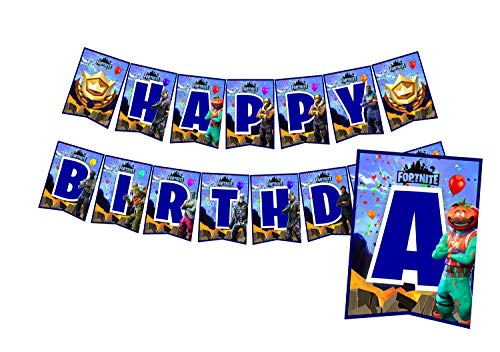 A2ZPlusmore FORTNITE Birthday Party Bunting Banner, Garland, Flag Pennants