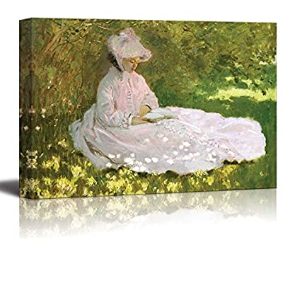 Charming Object of Art, Quality Artwork, Springtime by Claude Monet Print Famous Oil Painting Reproduction