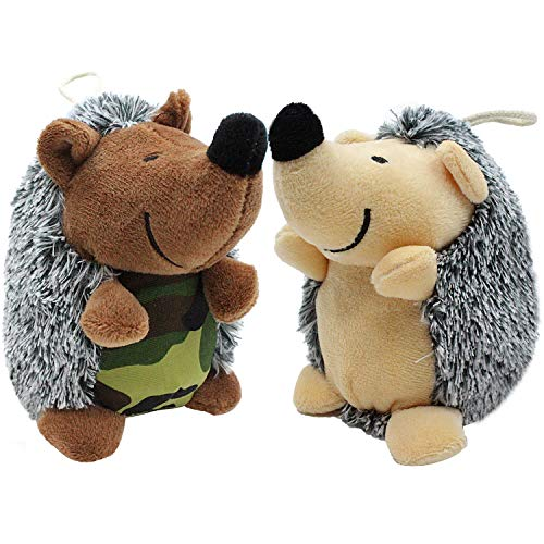 Kingtree Squeaky Dog Toy, 2 Pack Hedgehog Squeaker Pet Toys for Puppy, Tough Plush Stuffed Chew Toy for Small Medium Dogs Training and Playing